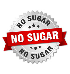 no sugar round isolated silver badge vector image vector image