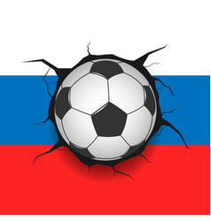 soccer ball and russian flag vector image vector image