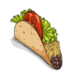 Taco color picture vector image