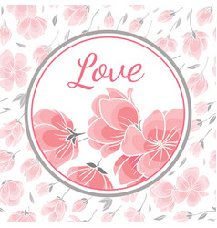 template greeting card with sakura flowers vector image