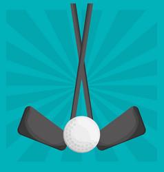 golf clubs ball design vector image