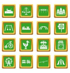 amusement park icons set green vector image