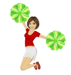 cheerleader girl jumping with pom poms vector image