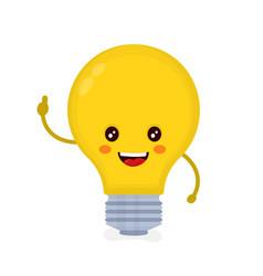 cute smiling happy light bulb have idea vector image