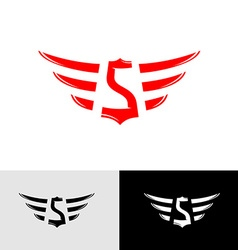 Letter S with wings East Asia style logo vector image vector image