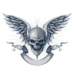 Skull with wings and ribbon vector image