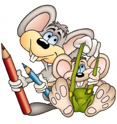 two mouses painters vector image vector image