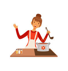 young woman with ladle cooking soup housewife vector image