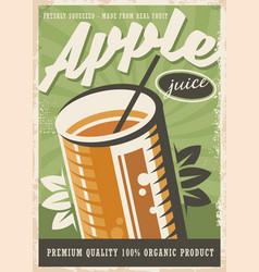 Apple juice retro poster design vector