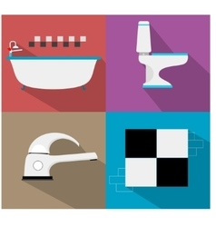 Bathroom icons with furniture and long shadows vector image