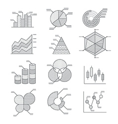 Business graphs diagrams icons set vector image vector image