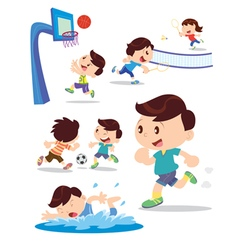Cute boys play multiple sports vector image