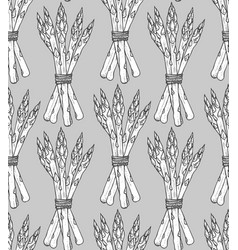 seamless pattern with sketch style asparagus bunch vector image