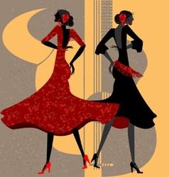 two flamenco dancers vector image