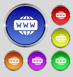 Www icon sign round symbol on bright colourful vector