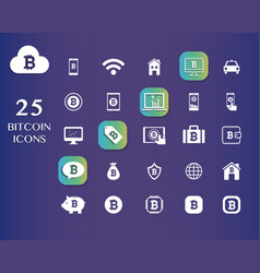 25 bitcoin icons for currency exchange online vector image
