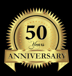 50 years anniversary gold seal logo design vector