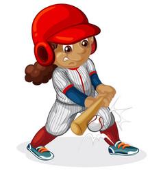 a female baseball player vector image