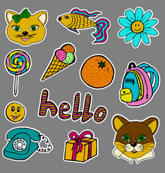a set of fashion labels badges cat cougar fish vector image