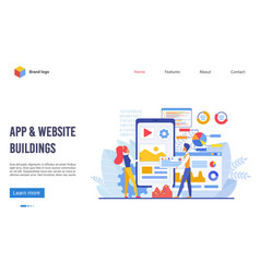 application and website buildings landing page vector image