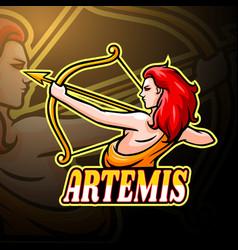 Artemis esport logo mascot design vector