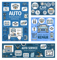 Auto repair car diagnostic maintenance service vector