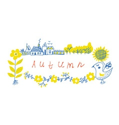 Autumn frame design with farm and flowers vector image vector image