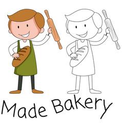 Baker man character on white background vector