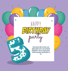 birthday card with candle number five vector image