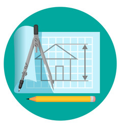 blueprint icon with project of house compasses vector image