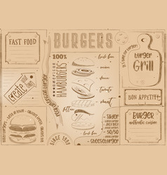 burger placemat place for text vector image