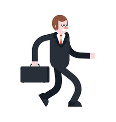 businessman walking isolated manager with case vector image