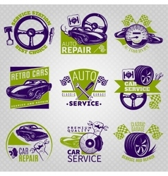 Car Repair In Color Emblem Set vector