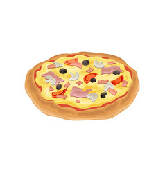cartoon of round pizza fresh vector image