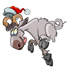 Cartoon sheep jumping in the hat of Santa Claus vector image