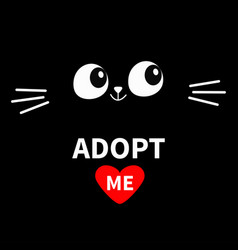 Cat face silhouette adopt me eyes moustaches in vector