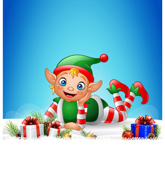 Christmas background with little elf laying on the vector