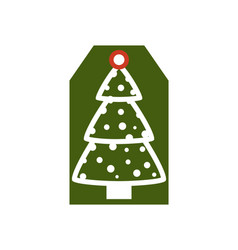 christmas tree on label on vector image