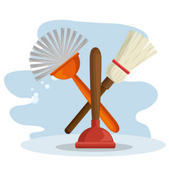 cleaning supplies with brush and broom vector image