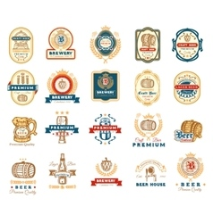 Collection of retro beer emblems badges stickers vector