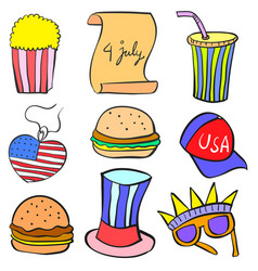 Collection stock memorial day object doodles vector