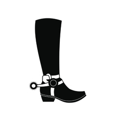 Cowboy boot black simple icon vector image
