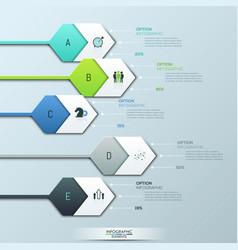 creative infographic design layout 5 hexagonal vector image