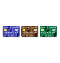 credit cards set multicolor template design vector image