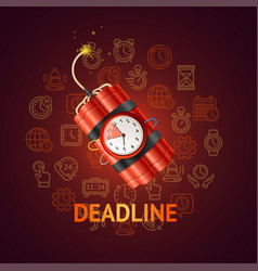 Deadline concept with realistic detailed 3d red vector