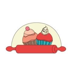delicious cupcake menu icon vector image