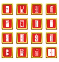 Door icons set red vector