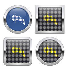 Dotted icon left curved arrow on glossy button vector