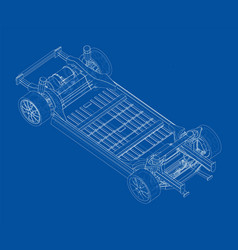 Electric car chassis with battery vector