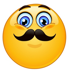 Emoticon with mustache vector